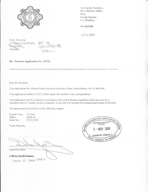 Air Pistol receipt of application