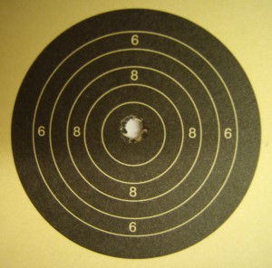Perfect ten shot with the Vickers at 25 yards