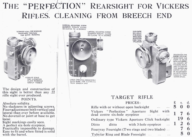 Original advert for the Vickers 'Perfection' Rearsight