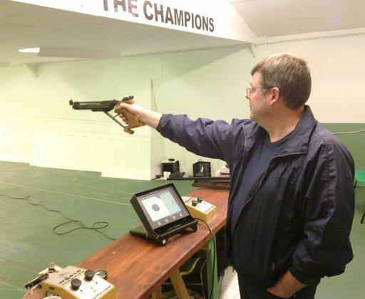 Matt's first pistol shot on the new targets