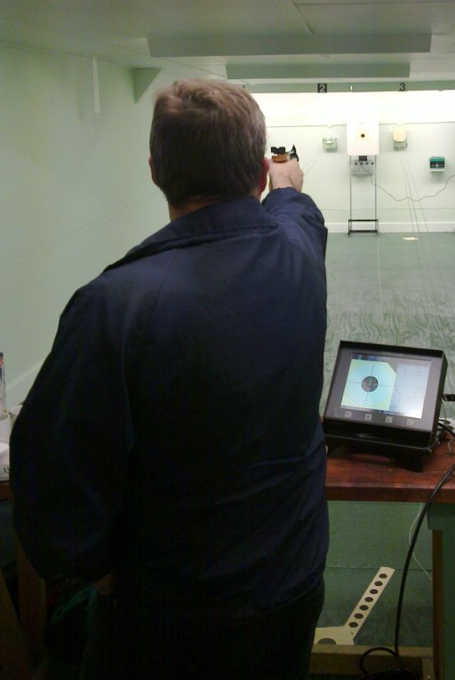 Matt's first pistol shot on the new targets