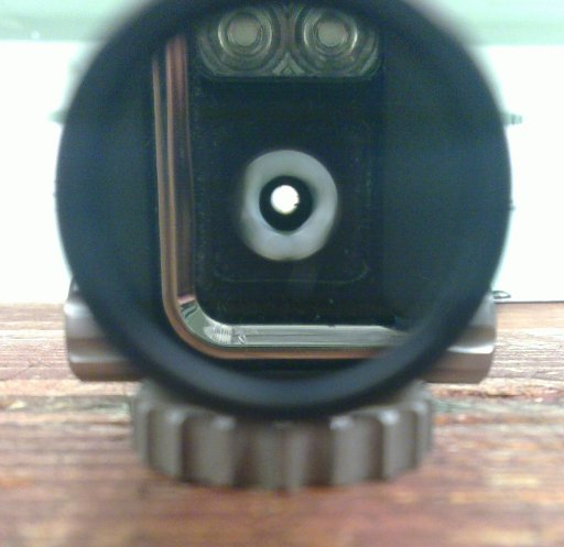 Shooters eye view through mirror and rearsight